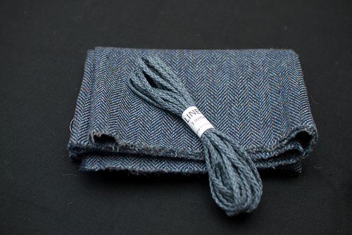 Blue tweed and grey/blue linen cord