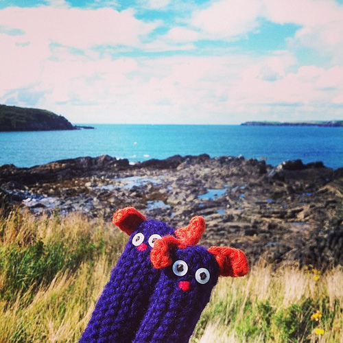 My #ricefieldcollective finger puppets posing for a photo in front of West Angle Bay, Pembrokeshire, Wales