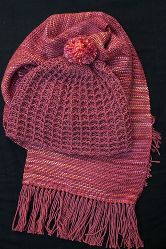 Sussex little waffle hat with variegated autumn colours scarf
