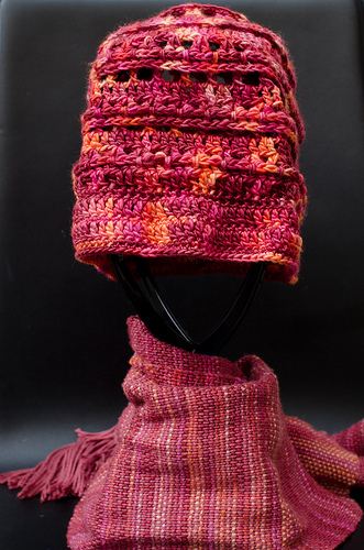 Fruit Salad Cardinal Hat and Autumnal Colours Scarf