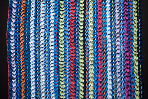 Lucky dip odds and ends blue-themed striped blanket