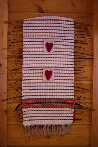 hite stripes woven wall hanging