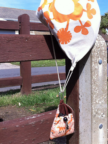 Dog treat bag attached to dog walking bag